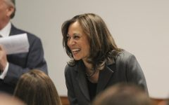 Kamala Harris greets the crowd at Politics and Eggs